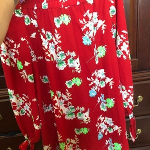 Nasty Gal Dresses - Red floral off shoulder dress